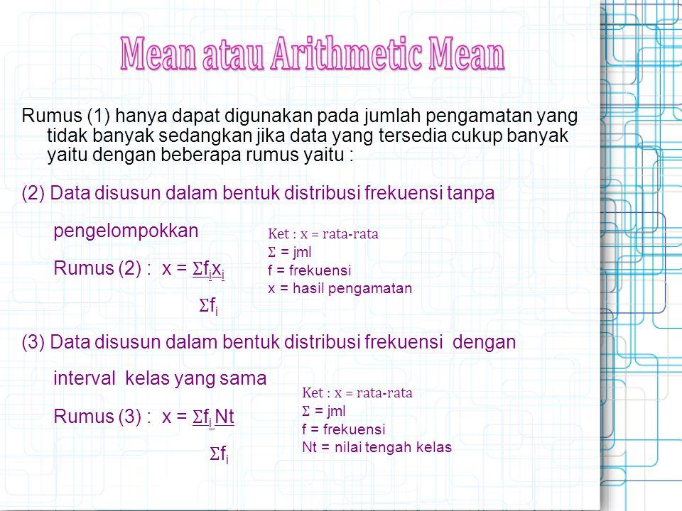  Proses perhitungannya : Mengurutkan data dari terkecil ke terbesar Bisa mengandung 1 modus, 2 modus dst serta tidak ada modus Contoh : Data : 2,3,4,2,3,5,3,6,3,4, Mod = 3 Data 2,3,4,2,3,5,3,2,3,2, Mod = 2 dan 3 Data 2,3,4,5,6,7,8,9, tidak ada modus