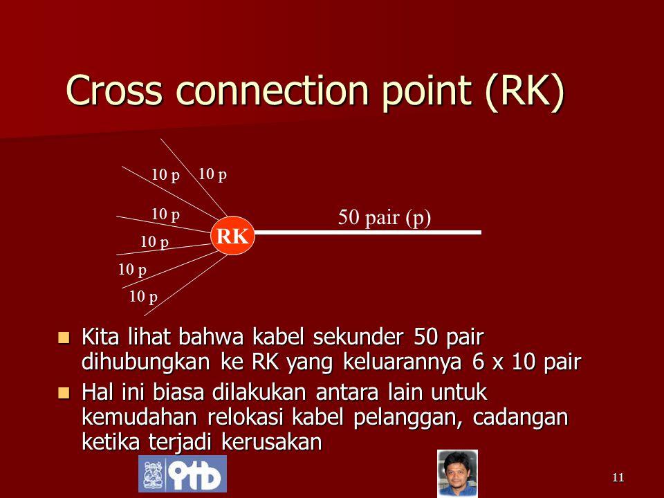 11 Cross connection point (RK) Kita lihat bahwa kabel sekunder 50 pair dihubungkan ke RK yang keluarannya 6 x 10 pair Kita lihat bahwa kabel sekunder