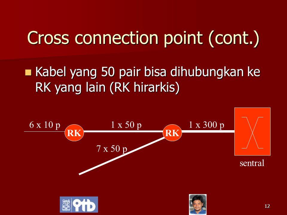 12 Cross connection point (cont.) Kabel yang 50 pair bisa dihubungkan ke RK yang lain (RK hirarkis) Kabel yang 50 pair bisa dihubungkan ke RK yang lai