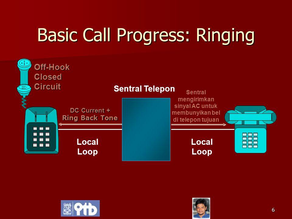 6 Basic Call Progress: Ringing DC Current + Ring Back Tone Sentral mengirimkan sinyal AC untuk membunyikan bel di telepon tujuan Sentral Telepon Local
