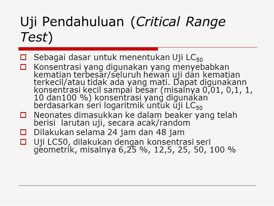 Uji Pendahuluan (Critical Range Test)  Sebagai dasar untuk menentukan Uji LC 50  Konsentrasi yang digunakan yang menyebabkan kematian terbesar/selur