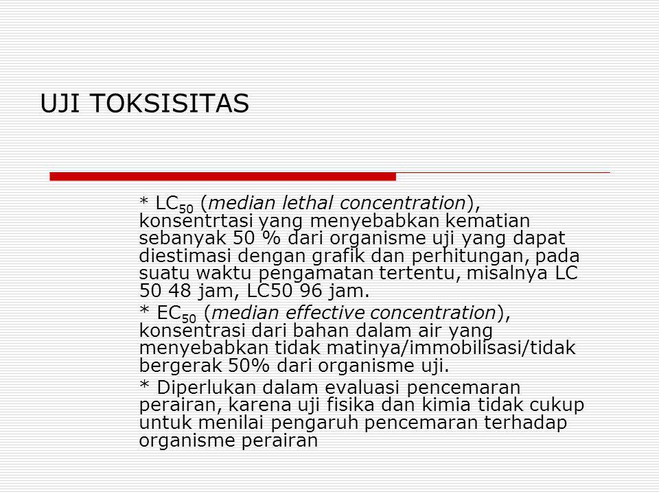 UJI TOKSISITAS * LC 50 (median lethal concentration), konsentrtasi yang menyebabkan kematian sebanyak 50 % dari organisme uji yang dapat diestimasi de