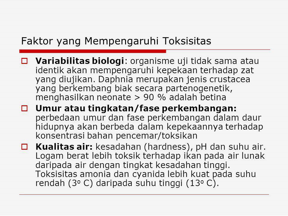 Komisi Pestisida, Departemen Pertanian  Kriteria Toksisitas LC50-96 jam  1.