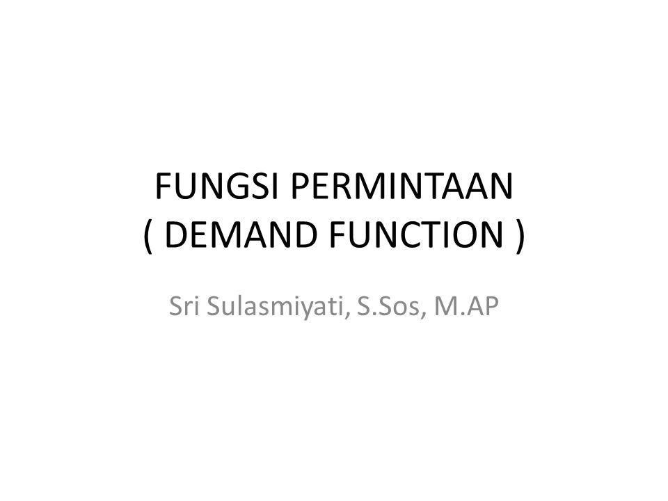 FUNGSI PERMINTAAN ( DEMAND FUNCTION ) Sebagai fungsi yang menghubungkan harga dengan jumlah barang/jasa yang diminta konsumen X = - ap + b atau p = - ax + b Hukum permintaan jika harga naik maka permintaan turun.