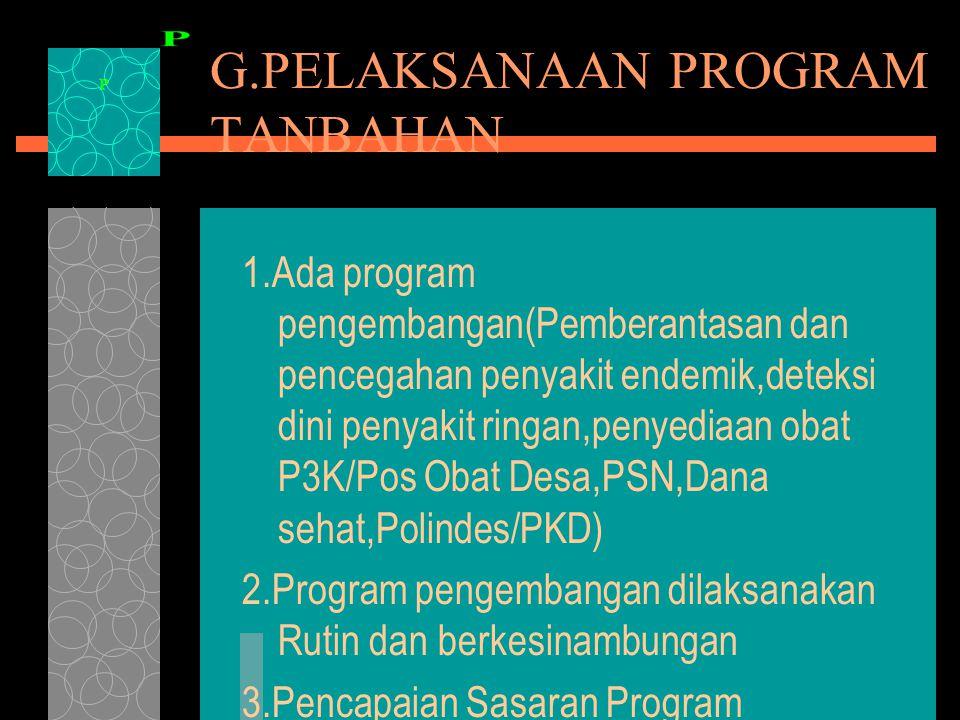 G.PELAKSANAAN PROGRAM TANBAHAN 1.Ada program pengembangan(Pemberantasan dan pencegahan penyakit endemik,deteksi dini penyakit ringan,penyediaan obat P