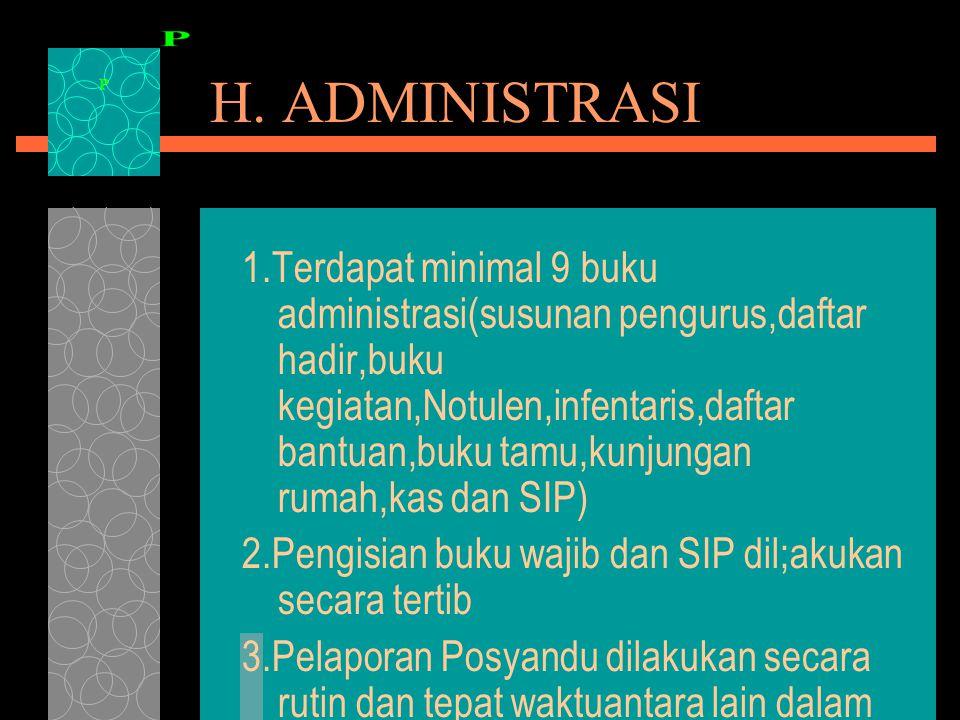 H. ADMINISTRASI 1.Terdapat minimal 9 buku administrasi(susunan pengurus,daftar hadir,buku kegiatan,Notulen,infentaris,daftar bantuan,buku tamu,kunjung