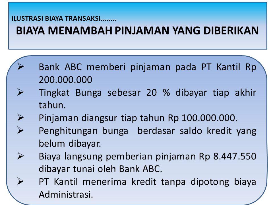  Bank ABC memberi pinjaman pada PT Kantil Rp 200.000.000  Tingkat Bunga sebesar 20 % dibayar tiap akhir tahun.  Pinjaman diangsur tiap tahun Rp 100