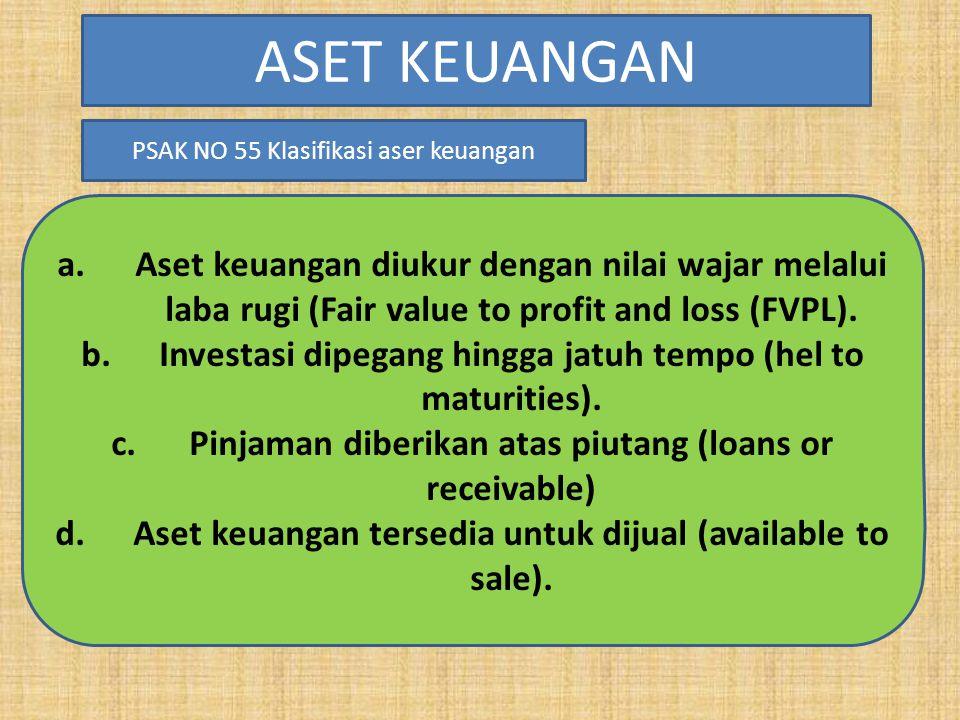a.Aset keuangan diukur dengan nilai wajar melalui laba rugi (Fair value to profit and loss (FVPL). b.Investasi dipegang hingga jatuh tempo (hel to mat