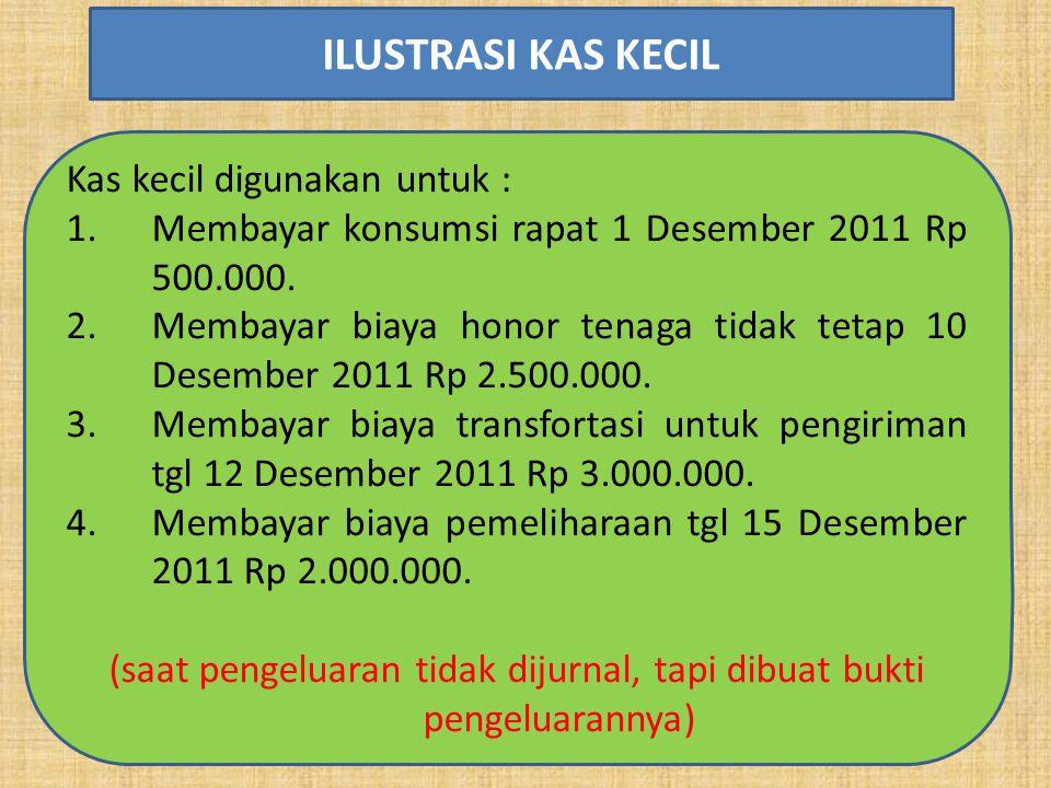 Kas kecil digunakan untuk : 1.Membayar konsumsi rapat 1 Desember 2011 Rp 500.000. 2.Membayar biaya honor tenaga tidak tetap 10 Desember 2011 Rp 2.500.