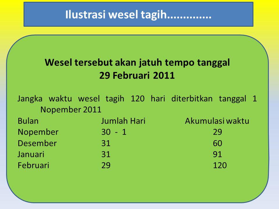 Wesel tersebut akan jatuh tempo tanggal 29 Februari 2011 Jangka waktu wesel tagih 120 hari diterbitkan tanggal 1 Nopember 2011 BulanJumlah HariAkumula