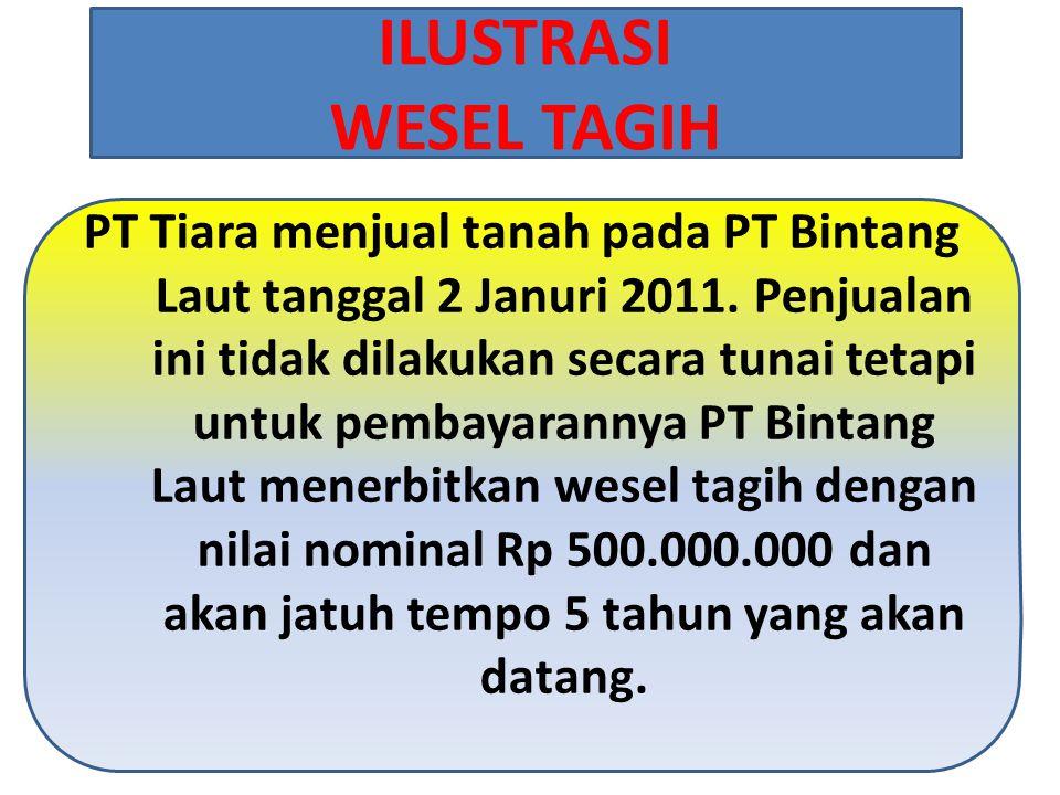 PT Tiara menjual tanah pada PT Bintang Laut tanggal 2 Januri 2011. Penjualan ini tidak dilakukan secara tunai tetapi untuk pembayarannya PT Bintang La