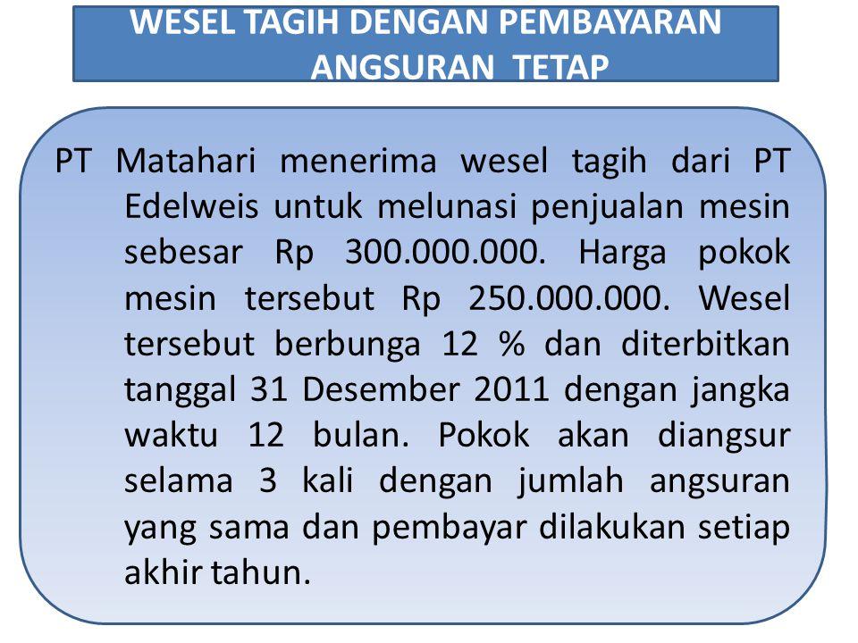 PT Matahari menerima wesel tagih dari PT Edelweis untuk melunasi penjualan mesin sebesar Rp 300.000.000. Harga pokok mesin tersebut Rp 250.000.000. We