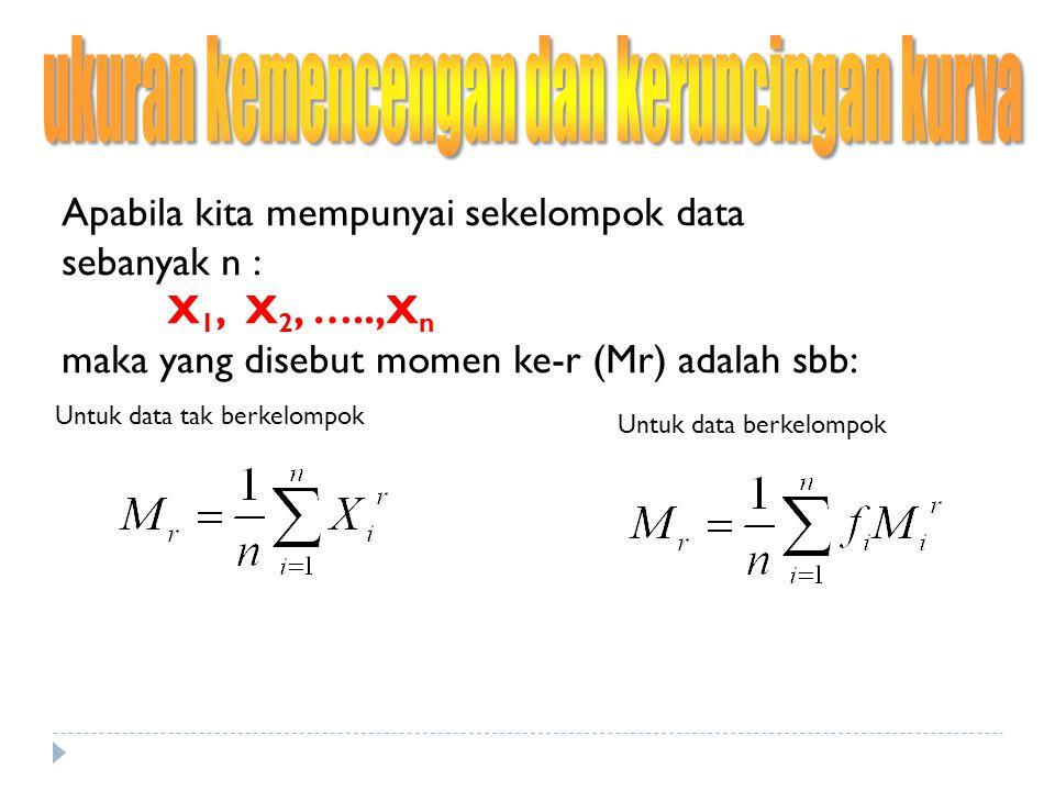 Untuk data tak berkelompok Untuk data berkelompok Untuk r = 1, maka M 1  merupakan rata-rata hitung r = 2, maka M 2  varians r = 3, maka M 3  kemencengan (skewness) r = 4, maka M 4  keruncingan (kurtosis)
