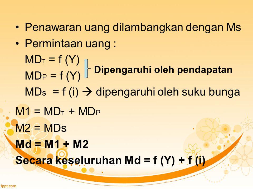 Penawaran uang dilambangkan dengan Ms Permintaan uang : MD T = f (Y) MD P = f (Y) MD s = f (i)  dipengaruhi oleh suku bunga M1 = MD T + MD P M2 = MDs Md = M1 + M2 Secara keseluruhan Md = f (Y) + f (i) Dipengaruhi oleh pendapatan