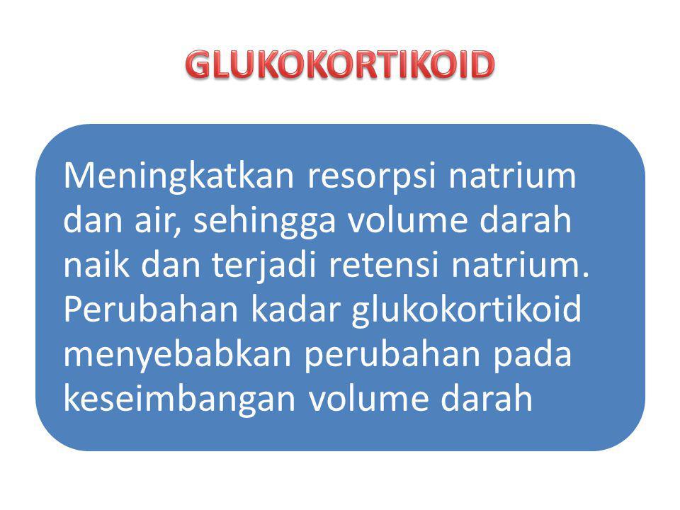 Meningkatkan resorpsi natrium dan air, sehingga volume darah naik dan terjadi retensi natrium. Perubahan kadar glukokortikoid menyebabkan perubahan pa