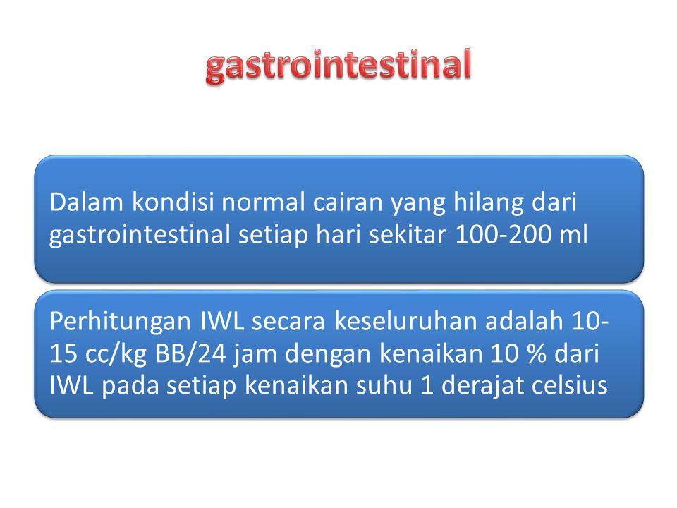 Dalam kondisi normal cairan yang hilang dari gastrointestinal setiap hari sekitar 100-200 ml Perhitungan IWL secara keseluruhan adalah 10- 15 cc/kg BB