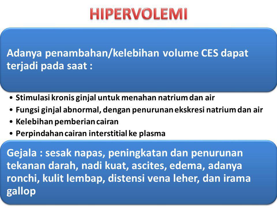 Adanya penambahan/kelebihan volume CES dapat terjadi pada saat : Stimulasi kronis ginjal untuk menahan natrium dan air Fungsi ginjal abnormal, dengan