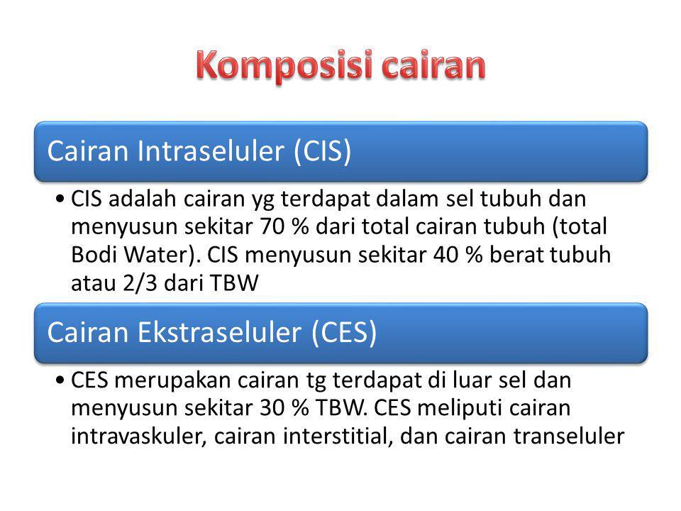 Cairan Intraseluler (CIS) CIS adalah cairan yg terdapat dalam sel tubuh dan menyusun sekitar 70 % dari total cairan tubuh (total Bodi Water). CIS meny