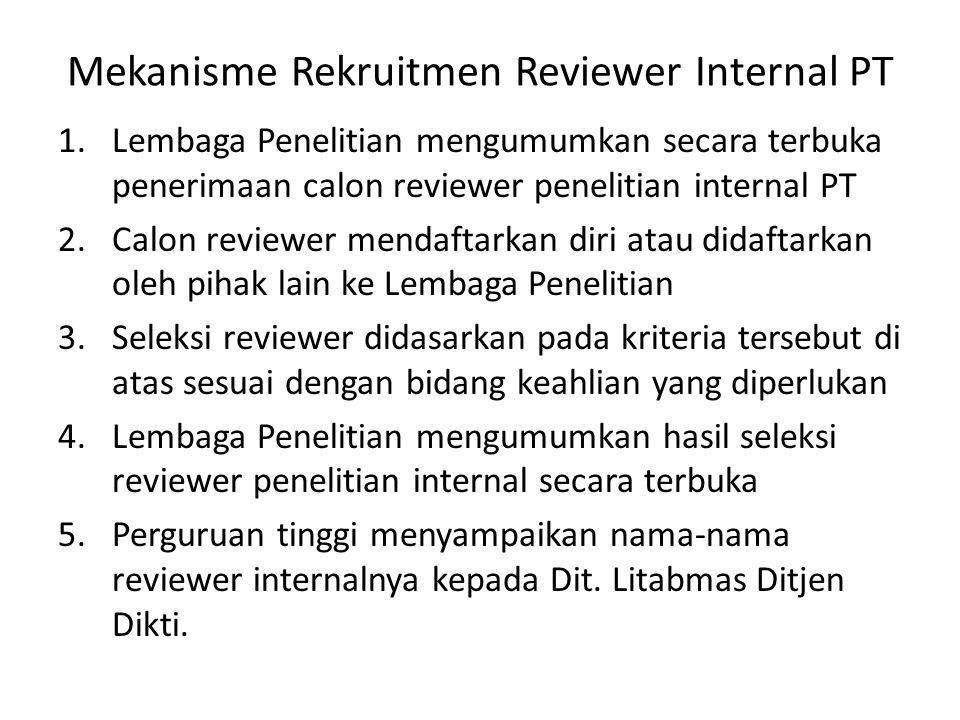 Mekanisme Rekruitmen Reviewer Internal PT 1.Lembaga Penelitian mengumumkan secara terbuka penerimaan calon reviewer penelitian internal PT 2.Calon rev