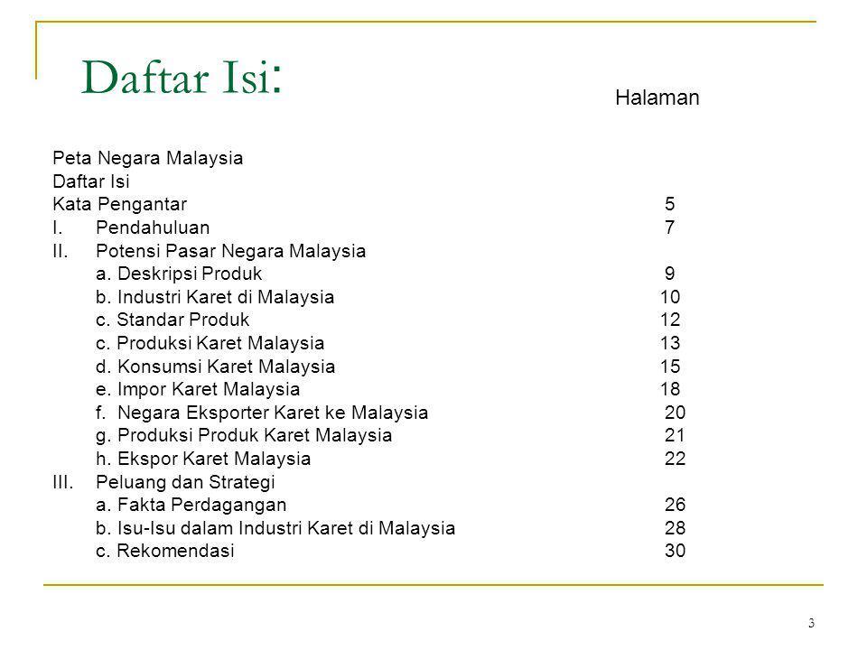 3 Daftar Isi : Peta Negara Malaysia Daftar Isi Kata Pengantar 5 I.Pendahuluan 7 II.Potensi Pasar Negara Malaysia a.