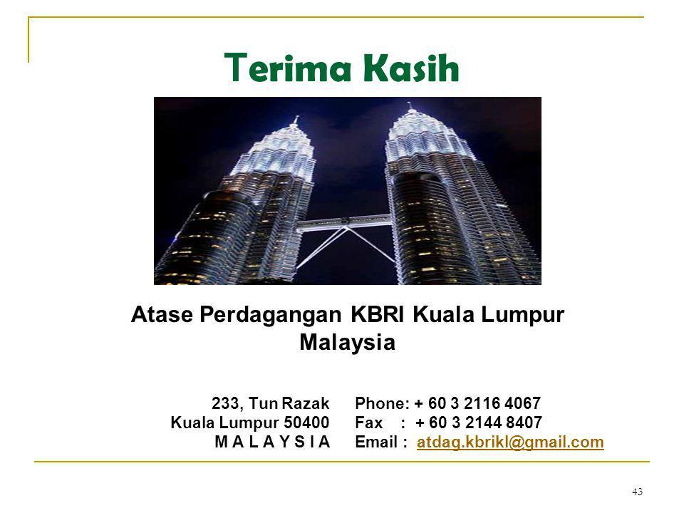 43 T erima Kasih 233, Tun Razak Kuala Lumpur 50400 M A L A Y S I A Phone: + 60 3 2116 4067 Fax : + 60 3 2144 8407 Email : atdag.kbrikl@gmail.comatdag.kbrikl@gmail.com Atase Perdagangan KBRI Kuala Lumpur Malaysia