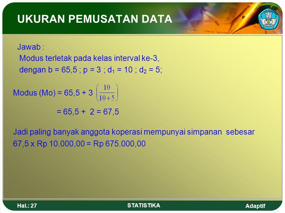 Adaptif Hal.: 27 STATISTIKA UKURAN PEMUSATAN DATA Jawab : Modus terletak pada kelas interval ke-3, dengan b = 65,5 ; p = 3 ; d 1 = 10 ; d 2 = 5; Modus