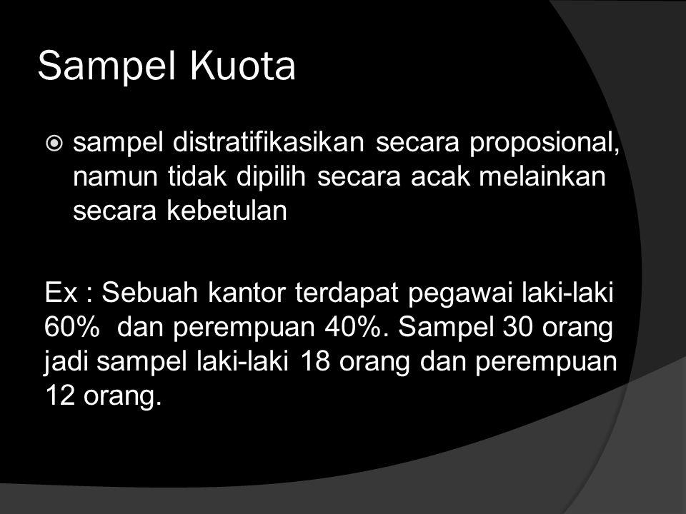 Sampel Kuota  sampel distratifikasikan secara proposional, namun tidak dipilih secara acak melainkan secara kebetulan Ex : Sebuah kantor terdapat pegawai laki-laki 60% dan perempuan 40%.