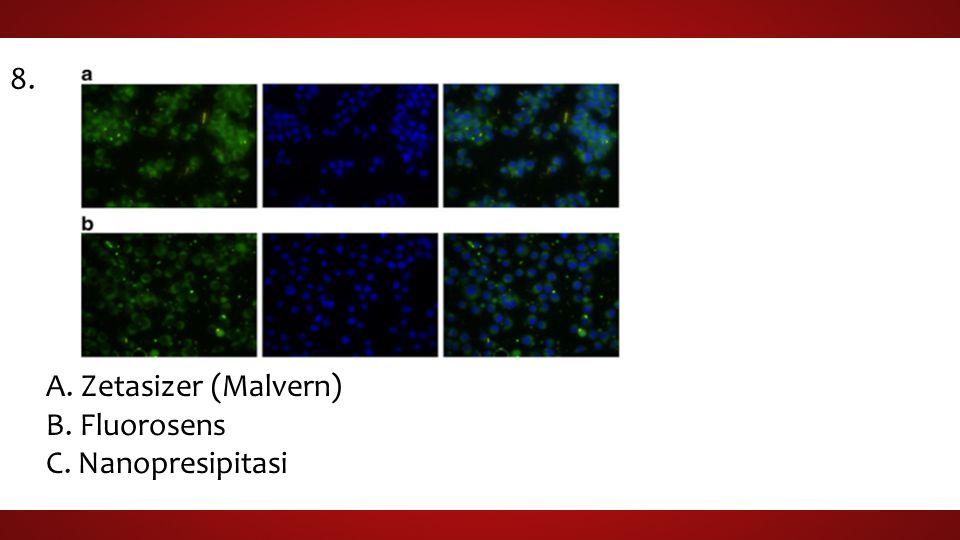 8. A. Zetasizer (Malvern) B. Fluorosens C. Nanopresipitasi