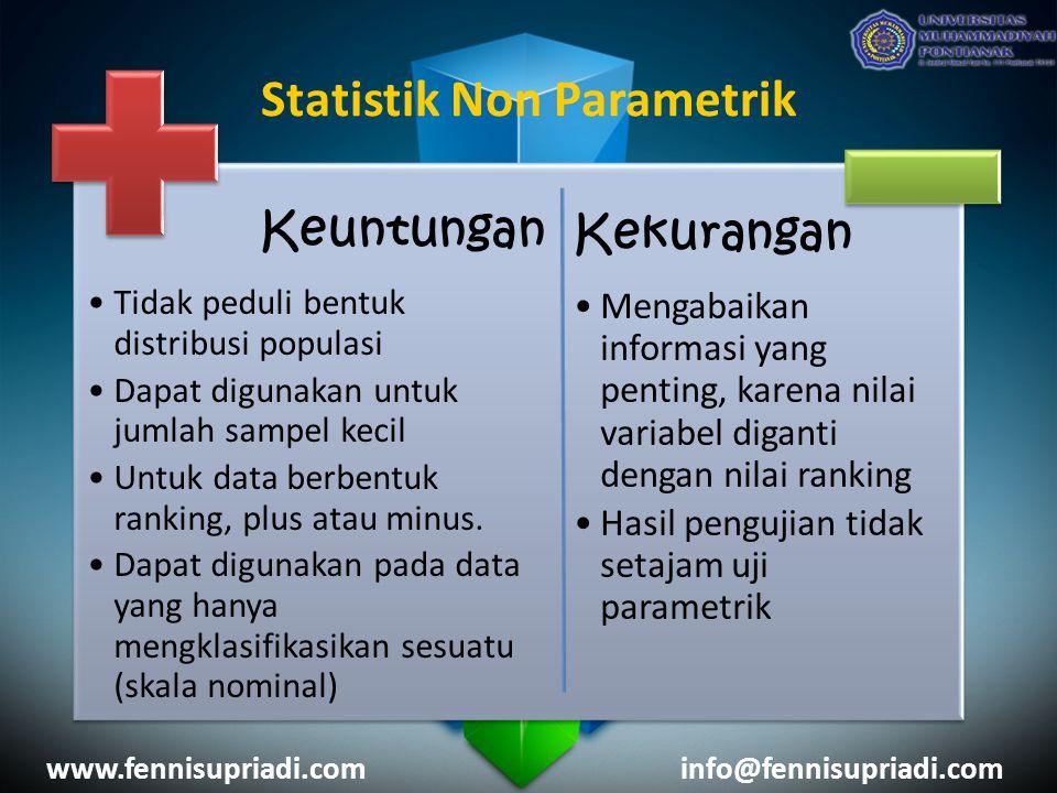 www.fennisupriadi.cominfo@fennisupriadi.com Keuntungan Tidak peduli bentuk distribusi populasi Dapat digunakan untuk jumlah sampel kecil Untuk data berbentuk ranking, plus atau minus.