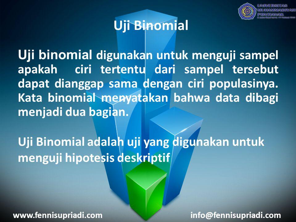 www.fennisupriadi.cominfo@fennisupriadi.com Uji binomial digunakan untuk menguji sampel apakah ciri tertentu dari sampel tersebut dapat dianggap sama dengan ciri populasinya.