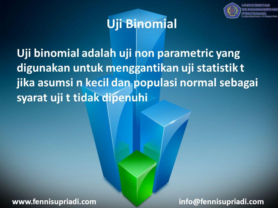 www.fennisupriadi.cominfo@fennisupriadi.com Uji binomial adalah uji non parametric yang digunakan untuk menggantikan uji statistik t jika asumsi n kec