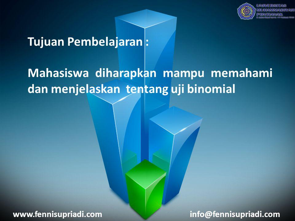 Tujuan Pembelajaran : Mahasiswa diharapkan mampu memahami dan menjelaskan tentang uji binomial www.fennisupriadi.cominfo@fennisupriadi.com