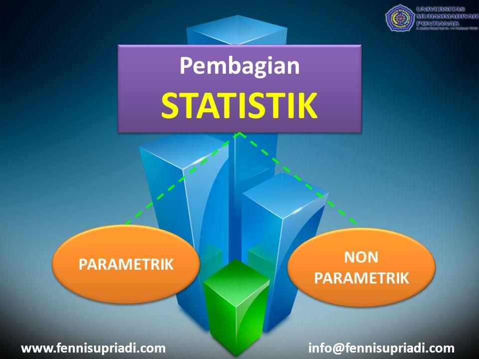 www.fennisupriadi.cominfo@fennisupriadi.com Pembagian STATISTIK Pembagian STATISTIK PARAMETRIK NON PARAMETRIK NON PARAMETRIK