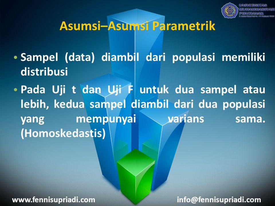 www.fennisupriadi.cominfo@fennisupriadi.com Sampel (data) diambil dari populasi memiliki distribusi Pada Uji t dan Uji F untuk dua sampel atau lebih, kedua sampel diambil dari dua populasi yang mempunyai varians sama.