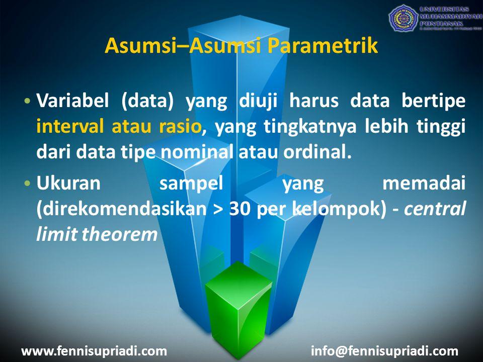 www.fennisupriadi.cominfo@fennisupriadi.com Variabel (data) yang diuji harus data bertipe interval atau rasio, yang tingkatnya lebih tinggi dari data tipe nominal atau ordinal.