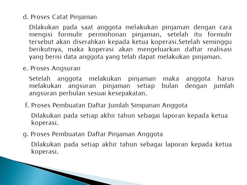 d. Proses Catat Pinjaman Dilakukan pada saat anggota melakukan pinjaman dengan cara mengisi formulir permohonan pinjaman, setelah itu formulir tersebu
