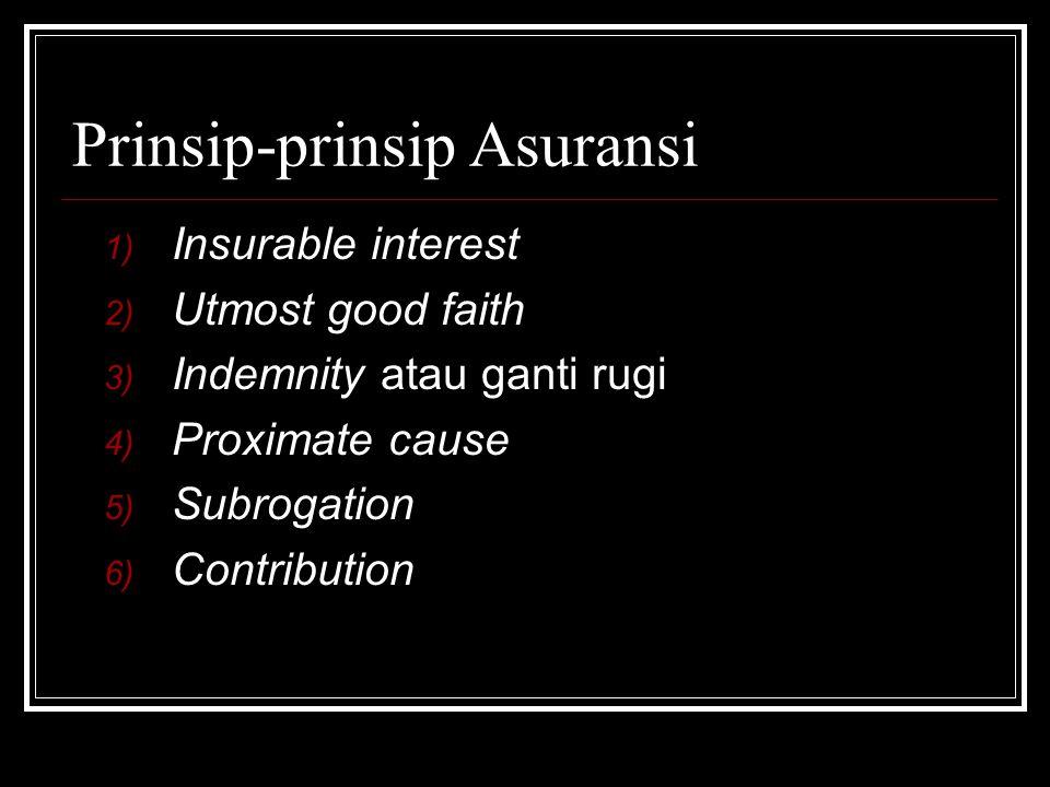 Prinsip-prinsip Asuransi 1) Insurable interest 2) Utmost good faith 3) Indemnity atau ganti rugi 4) Proximate cause 5) Subrogation 6) Contribution