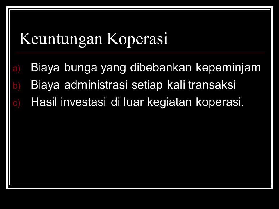Keuntungan Koperasi a) Biaya bunga yang dibebankan kepeminjam b) Biaya administrasi setiap kali transaksi c) Hasil investasi di luar kegiatan koperasi
