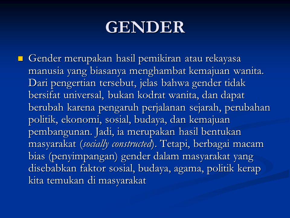 GENDER Gender merupakan hasil pemikiran atau rekayasa manusia yang biasanya menghambat kemajuan wanita. Dari pengertian tersebut, jelas bahwa gender t