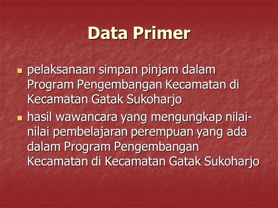 Data Primer pelaksanaan simpan pinjam dalam Program Pengembangan Kecamatan di Kecamatan Gatak Sukoharjo pelaksanaan simpan pinjam dalam Program Pengem