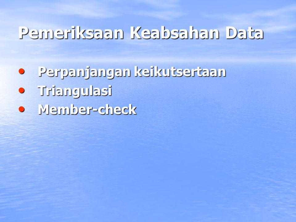 Pemeriksaan Keabsahan Data Perpanjangan keikutsertaan Triangulasi Member-check