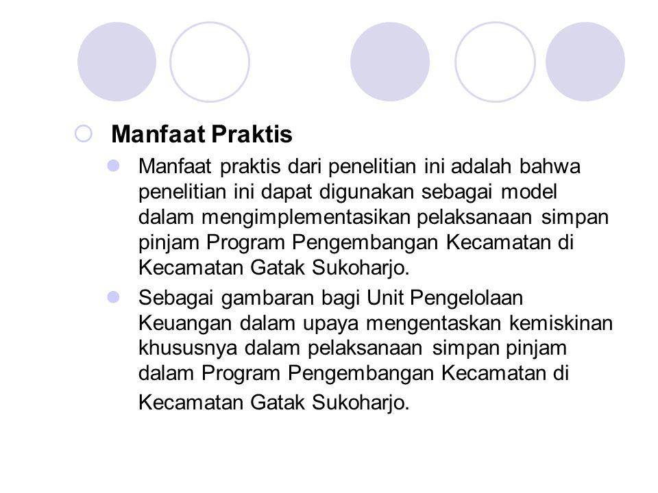  Manfaat Praktis Manfaat praktis dari penelitian ini adalah bahwa penelitian ini dapat digunakan sebagai model dalam mengimplementasikan pelaksanaan simpan pinjam Program Pengembangan Kecamatan di Kecamatan Gatak Sukoharjo.