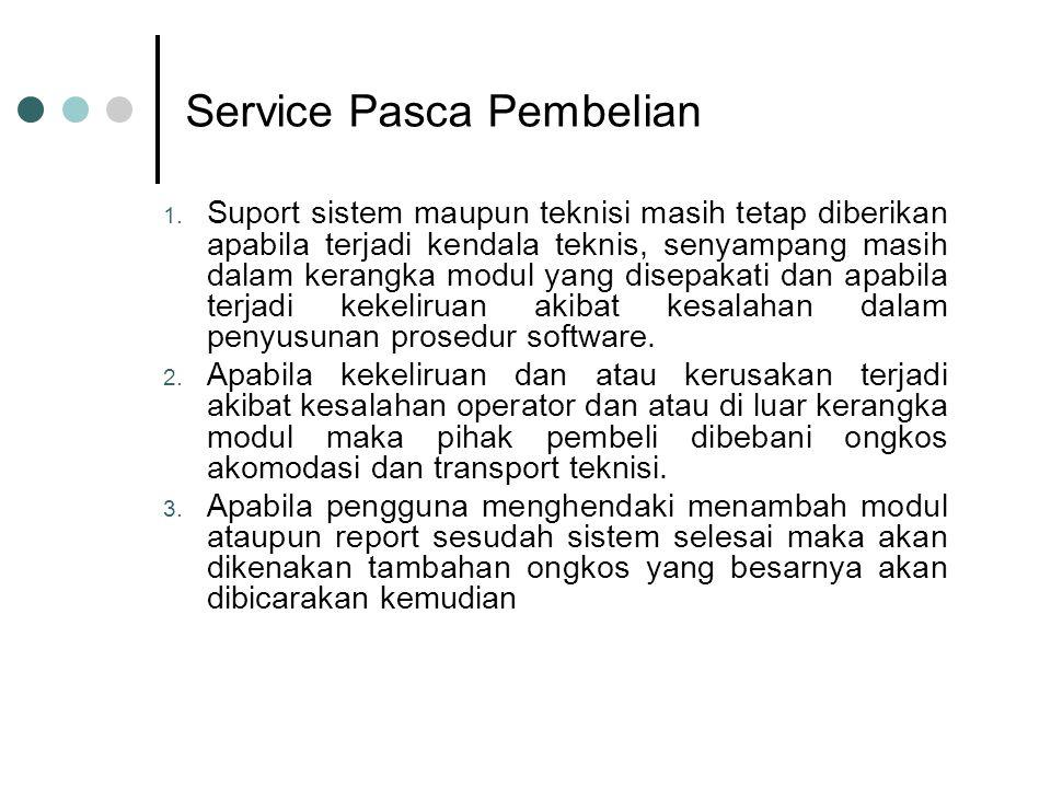 Service Pasca Pembelian 1. Suport sistem maupun teknisi masih tetap diberikan apabila terjadi kendala teknis, senyampang masih dalam kerangka modul ya