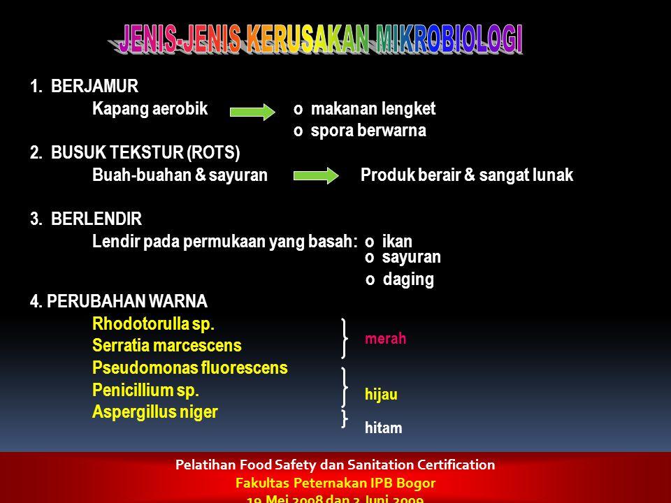 1. BERJAMUR Kapang aerobiko makanan lengket o spora berwarna 2. BUSUK TEKSTUR (ROTS) Buah-buahan & sayuranProduk berair & sangat lunak 3. BERLENDIR Le