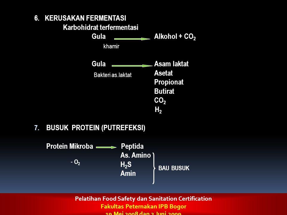 6. KERUSAKAN FERMENTASI Karbohidrat terfermentasi Gula Alkohol + CO 2 Gula Asam laktat Asetat Propionat Butirat CO 2 H 2 7. BUSUK PROTEIN (PUTREFEKSI)