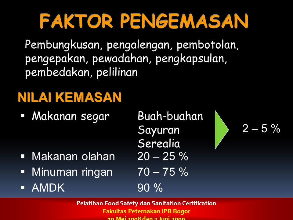 FAKTOR PENGEMASAN Pembungkusan, pengalengan, pembotolan, pengepakan, pewadahan, pengkapsulan, pembedakan, pelilinan NILAI KEMASAN  Makanan segarBuah-
