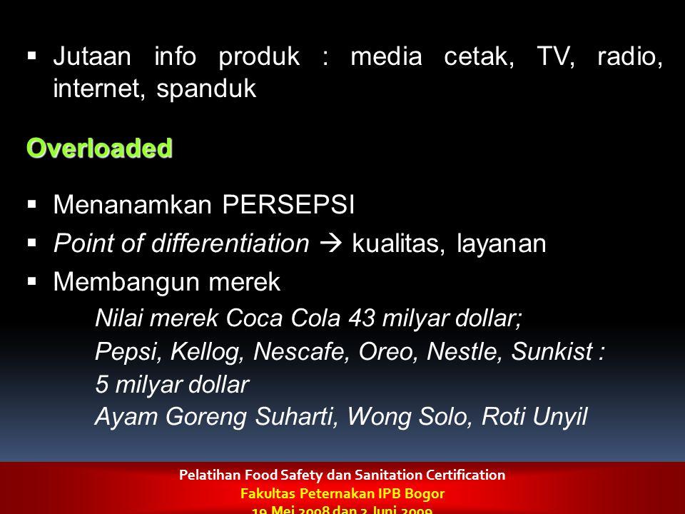  Jutaan info produk : media cetak, TV, radio, internet, spanduk Overloaded  Menanamkan PERSEPSI  Point of differentiation  kualitas, layanan  Mem