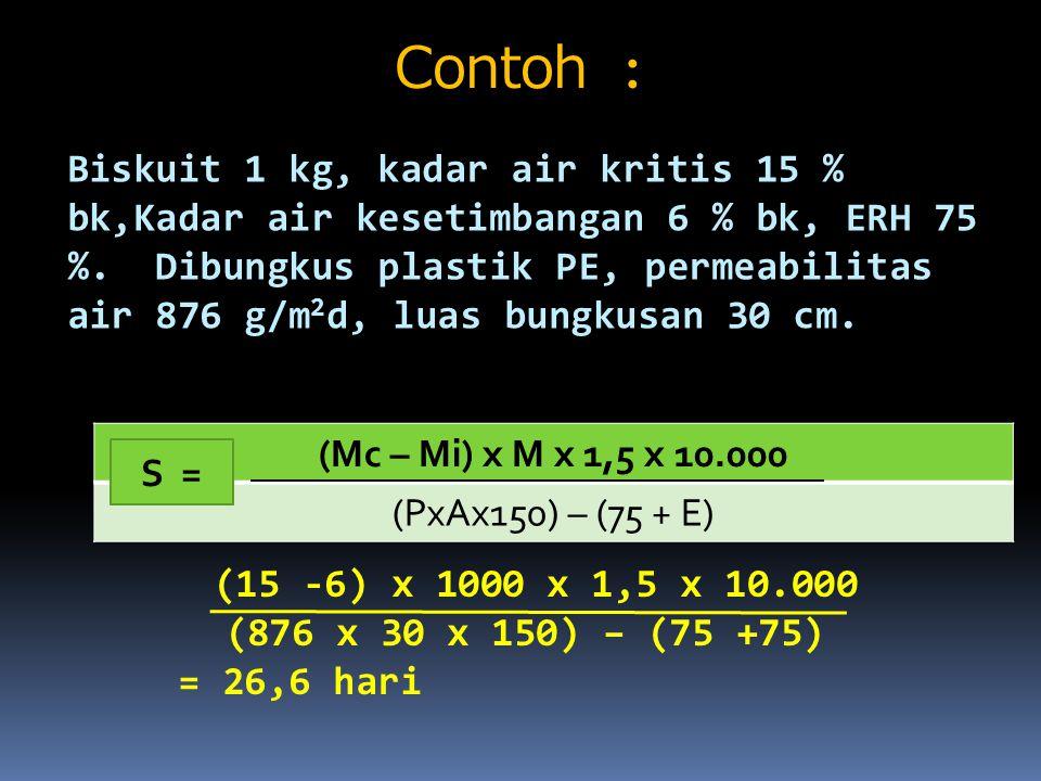 Contoh : Biskuit 1 kg, kadar air kritis 15 % bk,Kadar air kesetimbangan 6 % bk, ERH 75 %. Dibungkus plastik PE, permeabilitas air 876 g/m 2 d, luas bu