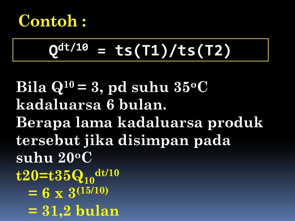 Contoh : Q dt/10 = ts(T1)/ts(T2) Bila Q 10 = 3, pd suhu 35 o C kadaluarsa 6 bulan. Berapa lama kadaluarsa produk tersebut jika disimpan pada suhu 20 o