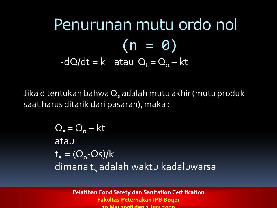 Penurunan mutu ordo nol (n = 0) -dQ/dt = k atau Q t = Q 0 – kt Jika ditentukan bahwa Q s adalah mutu akhir (mutu produk saat harus ditarik dari pasara